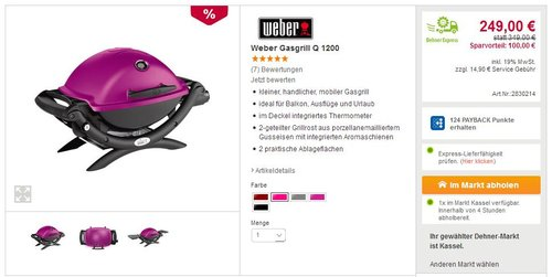 Weber Gasgrill Q 1200 Fuchsia - jetzt 29% billiger