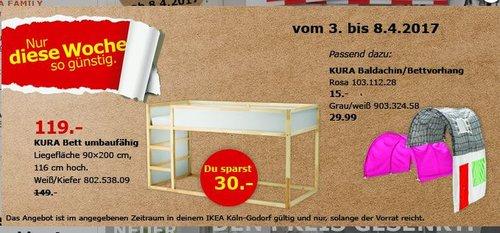 IKEA  KURA Bett umbaufähig, weiß, Kiefer, Liegefläche 90x200cm, 116 cm hoch - jetzt 20% billiger