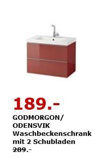 IKEA GODMORGON/ ODENSVIK Waschbeckenschrank mit 2 Schubladen, 83×49 cm, 64 cm hoch. Hochglanz dunkelrot - jetzt 35% billiger