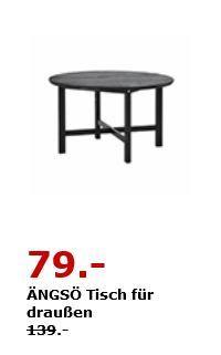IKEA ÄNGSÖ Tisch für draußen. Massive Kiefer/Beize auf Acrylbasis. Ø 125 cm, 74 cm hoch. Schwarzbraun - jetzt 43% billiger