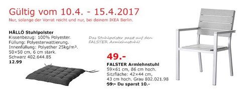IKEA FALSTER Armlehnstuhl/außen, grau - jetzt 17% billiger