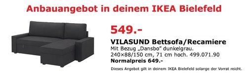 """VILASUND 3er-Bettsofa/Recamiere, mit Bezug """"Dansbo"""" dunkelgrau. 240*88/150 cm, 71 cm hoch. - jetzt 15% billiger"""