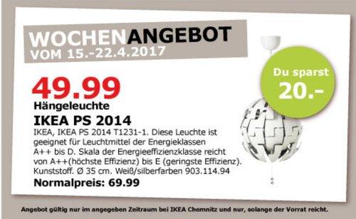 IKEA PS 2014 Hängeleuchte, weiß, silberfarben - jetzt 29% billiger