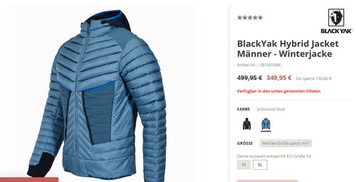 BlackYak Hybrid Jacket Männer - Winterjacke, XL, provincial blue - jetzt 30% billiger