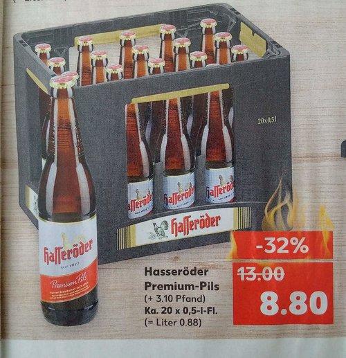 Bier Hasseröder Premium-Pils, Ka. 20x0,5L - jetzt 38% billiger