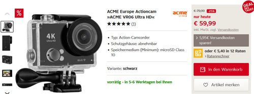 Actioncam ACME VR06 Ultra HD - jetzt 25% billiger