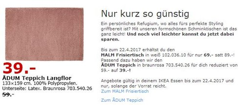 IKEA ADUM Teppich Langflor - jetzt 34% billiger