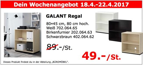 IKEA GALANT Regal 80×45 cm, 80 cm hoch. Weiß, Birkenfurnier, Schwarzbraun - jetzt 45% billiger