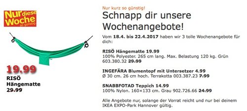 IKEA RISÖ Hängematte, grün - jetzt 33% billiger