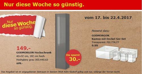 IKEA GODMORGON Hochschrank, Hochglanz grau, 40x32x192 cm - jetzt 17% billiger