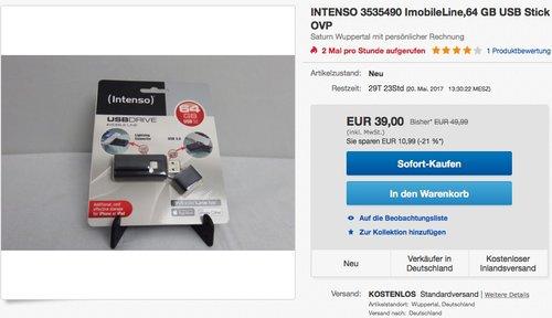 Intenso 3535490 iMobile Line 64GB USB-Stick USB 3.0 - jetzt 22% billiger