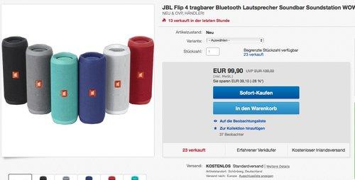 JBL Flip 4 Lautsprecher - jetzt 29% billiger