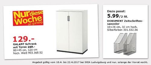 IKEA GALANT Schrank mit Türen, 80x45 cm, 120 cm hoch, weiß. - jetzt 19% billiger