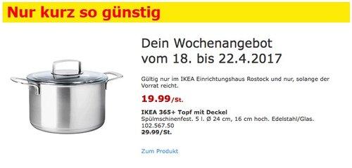 IKEA 365+ Topf mit Deckel Spülmschinenfest. 5 l. Ø 24 cm, 16 cm hoch. Edelstahl/Glas. - jetzt 33% billiger