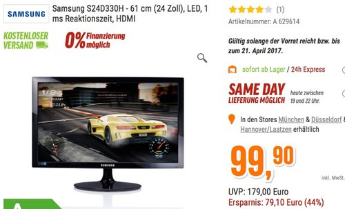 Samsung S24D330H 24 Zoll - jetzt 44% billiger