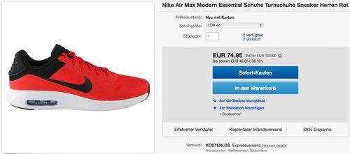 Nike Air Max Modern Essential Schuhe Turnschuhe Sneaker Herren Rot - jetzt 38% billiger