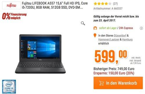 Fujitsu LIFEBOOK A557 i5-7200U 512GBSSD W10P - jetzt 20% billiger