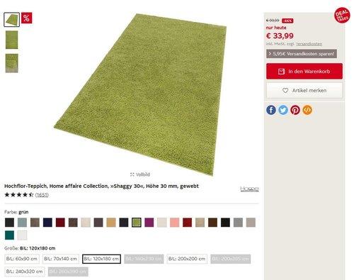 Hochflor-Teppich, Home affaire Collection, »Shaggy 30«, Höhe 30 mm, gewebt - jetzt 66% billiger