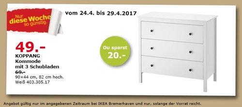 KOPPANG Kommode mit 3 Schubladen, weiß, 90x44 cm, 82 cm hoch. - jetzt 29% billiger