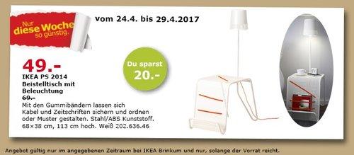 IKEA IKEA PS 2014 Beistelltisch mit Beleuchtung, weiß, 68x38 cm, 113 cm hoch - jetzt 29% billiger