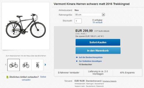 Vermont Kinara Herren schwarz matt 2016 Trekkingrad - jetzt 40% billiger