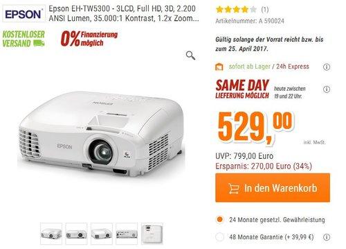 Epson EH-TW5300 LCD Projektor - jetzt 34% billiger
