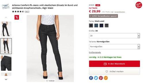 Arizona Comfort-fit-Jeans »mit elastischem Einsatz im Bund und sichtbarem Knopfverschluß«, High Waist - jetzt 50% billiger
