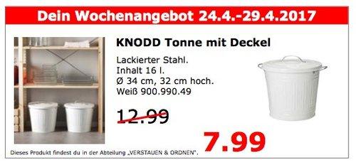 IKEA KNODD Tonne mit Deckel, 16 L, 32 cm hoch, weiß - jetzt 38% billiger