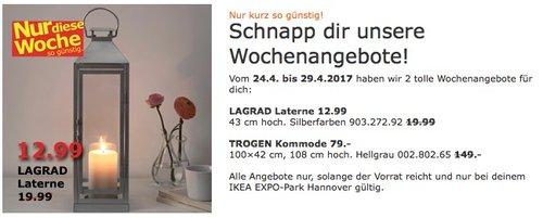 IKEA LAGRAD Laterne innen/außen, 43 cm hoch, silberfarben - jetzt 35% billiger