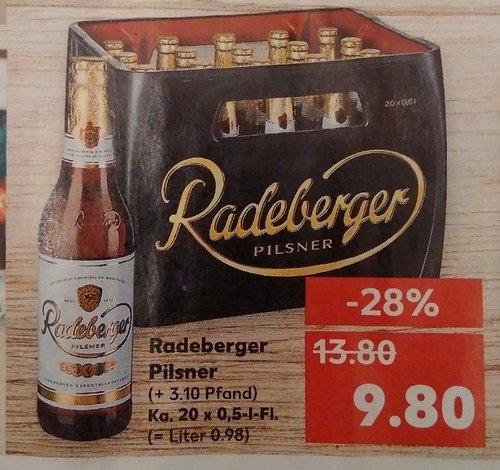 Bier Radeberger Pilsner, Ka. 20x0.5 L - jetzt 29% billiger