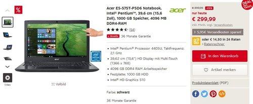 Acer E5-575T-P5D6 - jetzt 25% billiger