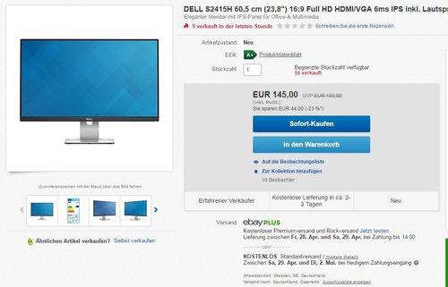 Dell S2415H 60,5 cm (23,8 Zoll) Monitor (HDMI, VGA, 6ms Reaktionszeit) schwarz - jetzt 23% billiger