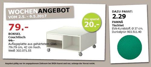 IKEA BOKSEL Couchtisch, 79x79 cm, 42 cm hoch, weiß - jetzt 20% billiger