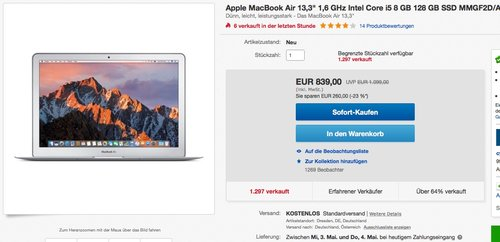 "Apple MacBook Air 13,3"" (Intel Core i5 1.6GHz, 128GB Flash, 8GB RAM, Intel HD Graphics 6000 Grafikkarte, MAC OS) - jetzt 24% billiger"