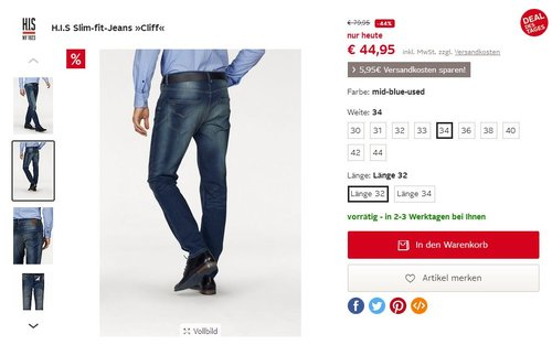 H.I.S Slim-fit-Jeans »Cliff«, mid-blue-used - jetzt 44% billiger