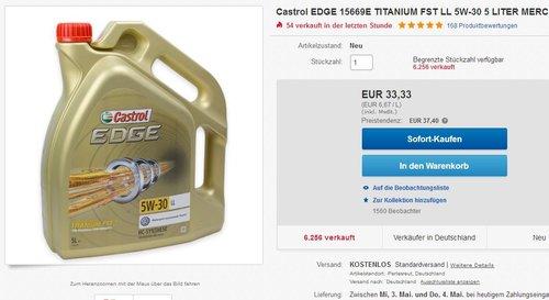 Castrol EDGE 15669E TITANIUM FST LL 5W-30 5 LITER - jetzt 11% billiger