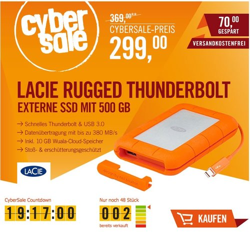 LaCie Rugged Thunderbolt / USB 3.0 500GB SSD 2.5 Zoll - jetzt 19% billiger