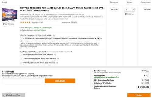 Sony KD-49XD8005 123 cm (49 Zoll) Fernseher (Ultra HD, Smart TV) - jetzt 20% billiger