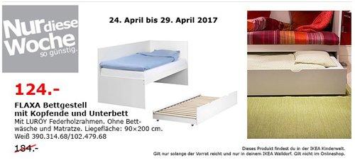 IKEA FLAXA Bettgest. mit Kopfende und Unterbett, weiß - jetzt 33% billiger