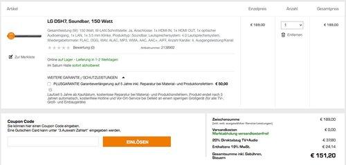LG DSH7 Soundbar 4.0 mit Bluetooth 150 Watt - jetzt 20% billiger