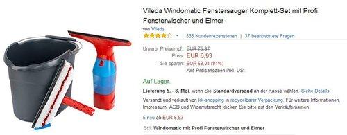 Vileda Windomatic Fenstersauger Komplett-Set mit Profi Fensterwischer und Eimer - jetzt 85% billiger