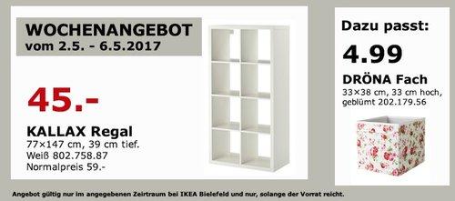 IKEA KALLAX Regal, 77x147 cm, 39 cm tief, weiß - jetzt 24% billiger