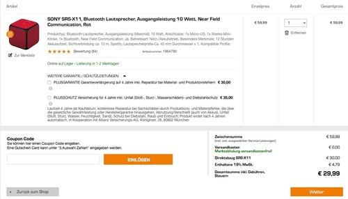 Sony SRS-X11 tragbarer Bluetooth-Lautsprecher, 10 Watt, NFC - jetzt 50% billiger