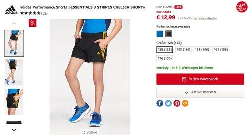 adidas Kinder Performance Shorts »ESSENTIALS 3 STRIPES CHELSEA SHORT« - jetzt 43% billiger
