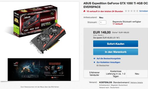 ASUS Expedition GeForce GTX 1050 Ti 4GB OC GAMING Grafikkarte - jetzt 21% billiger
