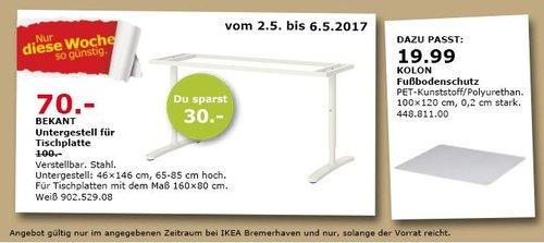 IKEA BEKANT Untergestell für Tischplatte, 46x146 cm, 65-85 cm hoch. - jetzt 90% billiger