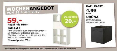 IKEA KALLAX Regal mit Türen, 77x39 cm, 147 cm hoch, weiß - jetzt 25% billiger