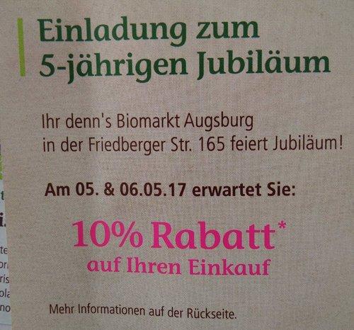denns Biomarkt-10 % Rabatt am 05. & 06.05.2017 auf fast alles - jetzt 10% billiger