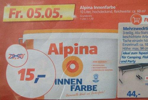Alpina Innenfarbe, 10 Liter, weiß - jetzt 50% billiger