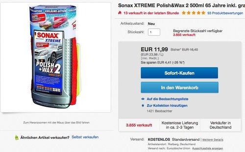 Sonax XTREME Polish&Wax 2 500ml - jetzt 27% billiger